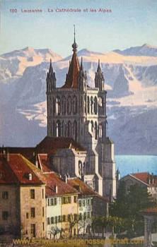 Lausanne, La Cathédrale et les Alpes