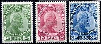 5, 10, und 25 Heller K. K. Österr. Post im Fürstentum Liechtenstein