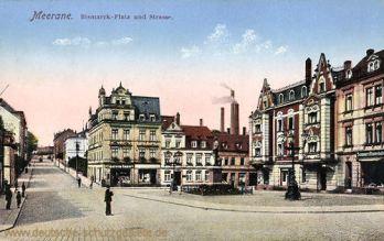 Meerane i. S., Bismarckplatz mit Bismarckdenkmal