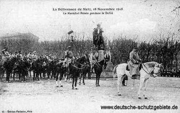 Metz am 18. November 1918, Einmarsch der Franzosen unter Marschall Petain