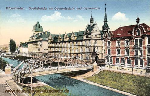 Pforzheim, Goethebrücke mit Oberrealschule und Gymnasium