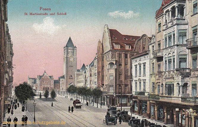 Provinz Posen: Posen, St. Martinstraße und Schloss