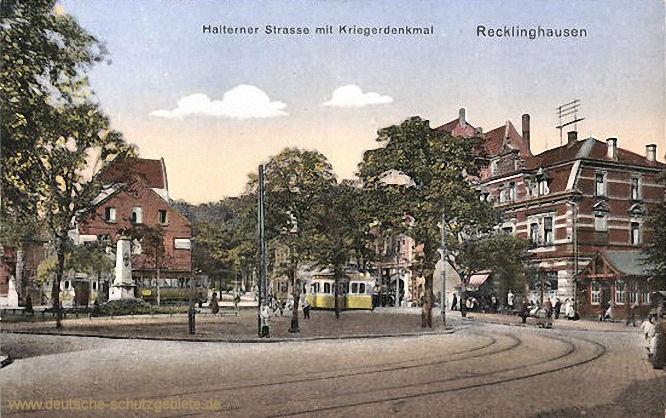 Recklinghausen, Haltener Straße mit Kriegerdenkmal