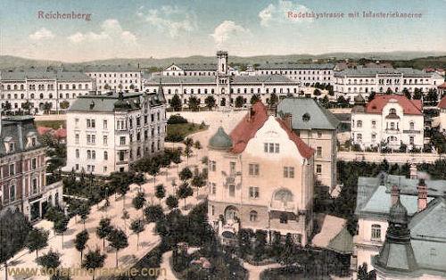 Reichenberg, Radetzkystraße mit Infanterie-Kaserne