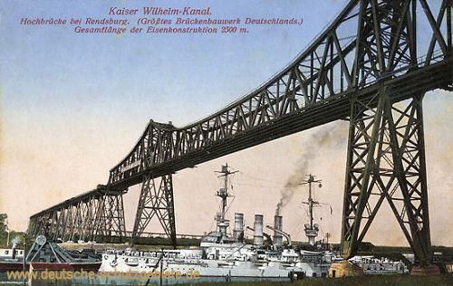 Rendsburg, Kaiser Wilhelm-Kanal mit Hochbrücke