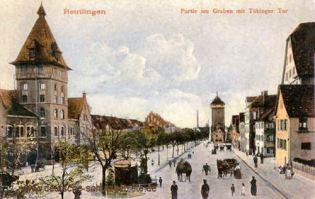 Reutlingen, Partie am Graben mit Tübinger Tor