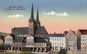 Saalfeld a. d. Saale, Marktplatz mit Johanniskirche
