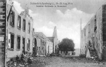 Schlacht bei Saarburg i. L., 18. - 20. Aug. 1914 - Zerstörte Dorfstraße in Bruderdorf