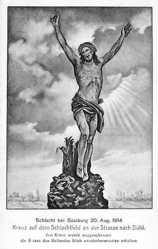 Schlacht bei Saarburg. Kreuz auf dem Schlachtfeld an der Straße nach Bühl