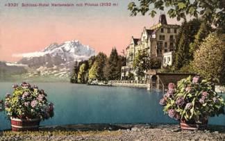 Schloss-Hotel Hertenstein mit Pilatus (2132 m)