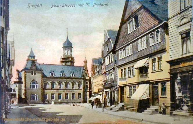 Siegen, Post-Straße mit Kaiserlichem Postamt