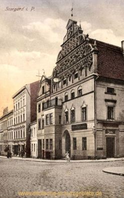 Stargard i. P., Poststraße mit kgl. priv. Rats- und Löwenapotheke