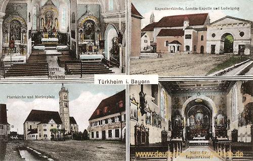 Türkheim in Bayern, Inneres der Pfarrkirche, Pfarrkirche und Marienplatz, Kapuzinerkirche, Loretto-Kapelle und Ludwigstor, Inneres der Kapuzinerkirche