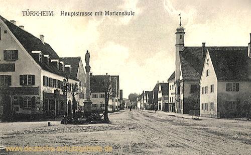 Türkheim in Bayern, Hauptstraße mit Mariensäule