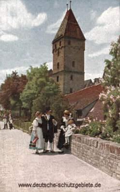 Ulm a. D., Metzgerturm mit Stadtmauer