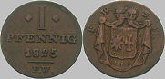 1 Pfennig, Waldeck 1825