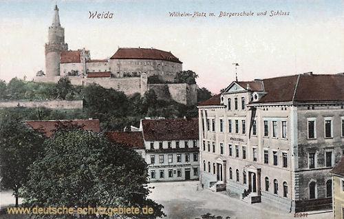 Weida, Wilhelm-Platz mit Bürgerschule und Schloss