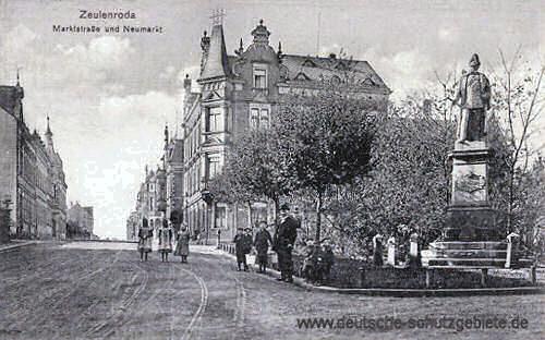 Zeulenroda, Marktstraße und Neumarkt (Denkmal Kaiser Wilhelm I.)
