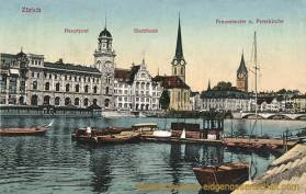 Zürich, Hauptpost, Stadthaus, Fraumünster- und Peterkirche