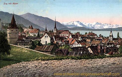 Zug mit Alpen