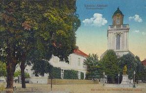 Küstrin-Altstadt, Kommandantur, Marienkirche mit Denkmal Markgraf Johann