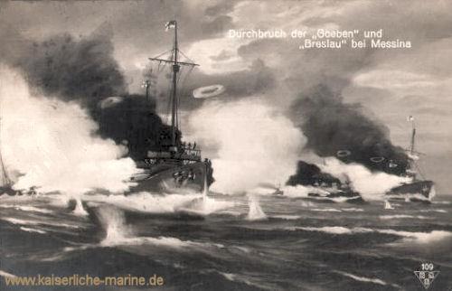 S.M.S. Goeben und Breslau, Durchbruch bei Messina