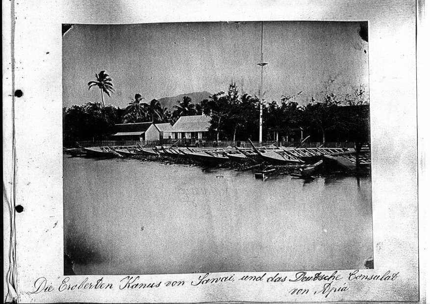 Die Eroberten Kanus von Sawei und das Deutsche Consulat von Apia