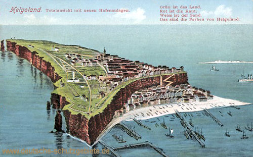 Helgoland, Totalansicht mit neuen Hafenanlagen
