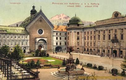 Innsbruck, Rennplatz Hofkirche und k. k. Hofburg