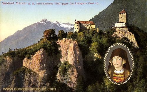 Meran, K. K. Stammschloss Tirol gegen die Zielspitze (3006 m)