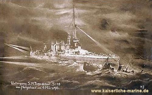 Untergang S.M. Torpedoboot 178 vor Helgoland am 4. März 1913