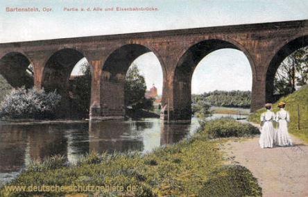 Bartenstein Opr., Partie an der Alle und Eisenbahnbrücke