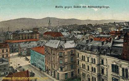 Bielitz gegen Süden mit Klimczockgebirge