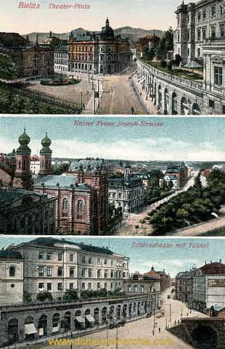 Bielitz, Theater-Platz, Kaiser Franz Josef-Straße, Schloßbazar mit Tunnel
