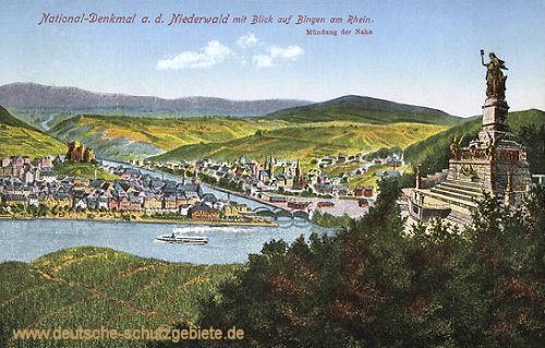 National-Denkmal a. d. Niederwald mit Blich auf Bingen am Rhein. Mündung der Nahe