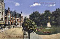 Brieg, Postamt mit Bismarckdenkmal