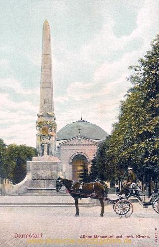 Darmstadt, Alicen-Monument und kath. Kirche