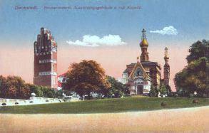 Darmstadt, Hochzeitsturm, Ausstellungsgebäude u. ruß. Kapelle