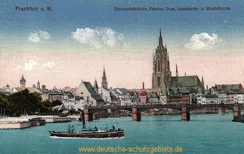 Frankfurt a. M., Untermainbrücke, Fährtor, Dom, Leonhards- und Nicolaikirche