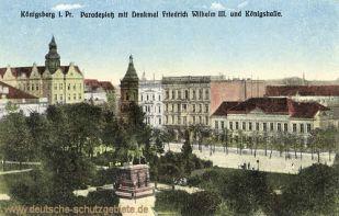 Königsberg i. Pr., Paradeplatz mit Denkmal Friedrich Wilhelm III. und Königshalle
