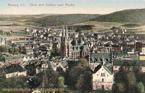 Marburg a. d. Lahn, Blick vom Schloss nach Norden