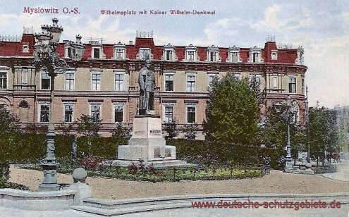 Myslowitz, Wilhelmsplatz mit Kaiser Wilhelm-Denkmal