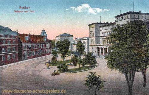 Ratibor, Bahnhof und Post