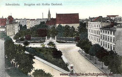 Schweidnitz, Burgplan mit Moltke-Denkmal