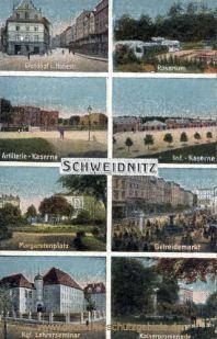 Schweidnitz, Grundhof, Rosarium, Kaserne, Margaretenplatz, Getreidemarkt, Lehrerseminar, Kaiserpromenade