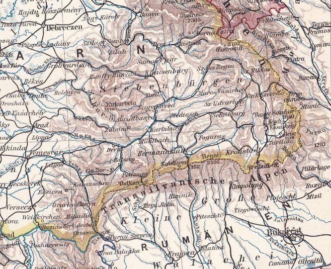 Siebenbürgen, Karte 1900