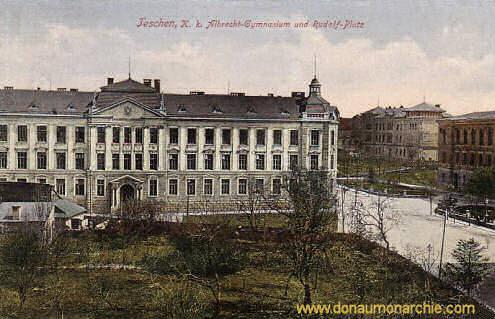 Teschen, k. k. Albrecht-Gymnasium und Rudolf-Platz