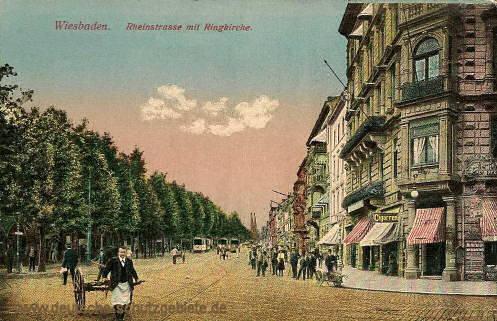 Wiesbaden, Rheinstraße mit Ringkirche