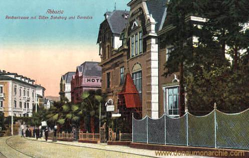 Abbazia, Reichsstraße mit Villen Habsburg und Hercules