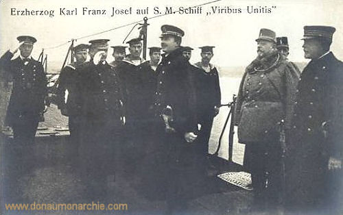 Erzherzog Karl Franz Josef auf S.M.S. Viribus Unitis